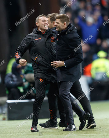 Stock Image of Rangers Manager Steven Gerrard celebrates with First Team coach Tom Culshaw after Steven Davis of Rangers scored to give them a 2-0 lead.