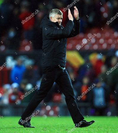 Manchester United manager Ole Gunnar Solskjaer thanks the fans at the end of the game
