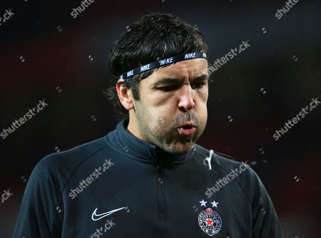 Stock Photo of Partizan Belgrade goalkeeper Vladimir Stojkovic spits