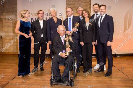 Astrid Frohloff, Jan Josef Liefers, Christine Lagarde, Wolfgang Schauble, Katja Kluge, Rudolf Thiemann, Ingo Nommsen and Stephan Scherzer