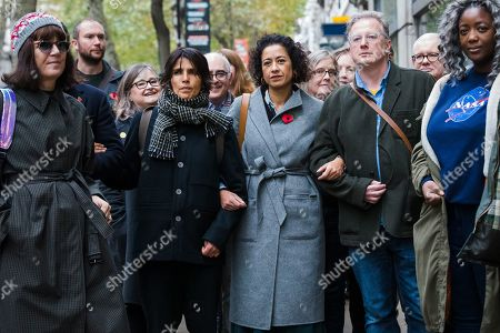 Television presenter and journalist, Samira Ahmed (C) with her supporters arrives at the Central London Employment Tribunal to attend an equal pay case hearing against the BBC. Samira Ahmed, who presents Newswatch on BBC One and Radio 4's Front Row claims she was paid less than male colleagues for doing equivalent work under the Equal Pay Act.