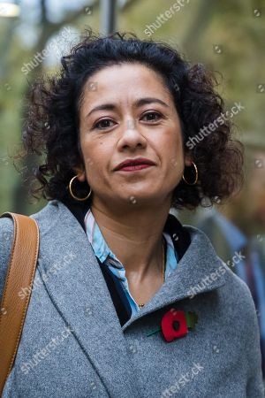 Television presenter and journalist, Samira Ahmed arrives at the Central London Employment Tribunal to attend an equal pay case hearing against the BBC. Samira Ahmed, who presents Newswatch on BBC One and Radio 4's Front Row claims she was paid less than male colleagues for doing equivalent work under the Equal Pay Act.