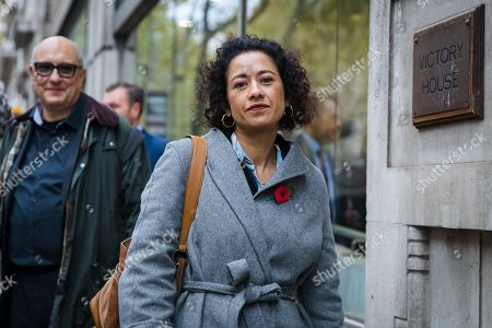 Television presenter and journalist, Samira Ahmed (C) arrives at the Central London Employment Tribunal to attend an equal pay case hearing against the BBC. Samira Ahmed, who presents Newswatch on BBC One and Radio 4's Front Row claims she was paid less than male colleagues for doing equivalent work under the Equal Pay Act.