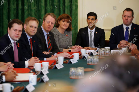 Cabinet Ministers listen to Britain's Prime Minister Boris Johnson during a cabinet meeting, inside number 10 Downing Street - Robert Jenrick, Grant Shapps, Alister Jack, Nicky Morgan, Rishi Sunak and Mark Spencer.