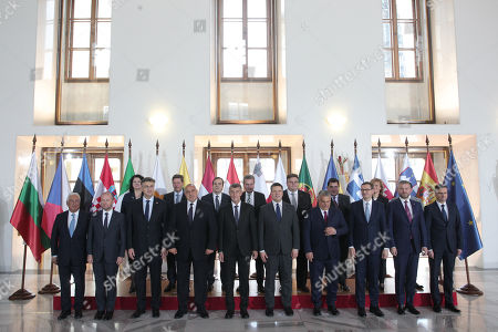 (Front row, L-R) Prime minister of Portugal Antonio Costa, Prime minister of Malta Joseph Muscat, prime minister of Croatia, prime minister of Bulgaria Boyko Borissov, prime minister of Czech Republic Andrej Babis, Prime minister of Estonia Juri Ratas, Prime minister of Hungary Viktor Orban, prime minister of Poland Mateusz Morawiecki, prime minister of Slovakia Peter Pellegrini, prime minister of Slovenia Marjan Sarec.  (Second row, L-R) Ambassador of Romania Carmen Burlacu, Alternate Minister for Foreign Affairs of Greece, Miltiadis Varvitsiotis, Minister of European Affairs of Italy Vincenzo Amendola, Commissioner of European commission Gunther Oettinger, Minister of Foreign Affairs Lunas Linkevicius, State Secretary of European Affairs of Spain Marco Aguiriano, Parliamentary State Secretary of European Affairs of Latvia Zanda Kalnina-Lukasevica, Secretary of the Council of Ministers of Cyprus Theodosis Tsiolas during the meeting of the Friends of Cohesion group in Prague, Czech Republic, 05 November 2019.