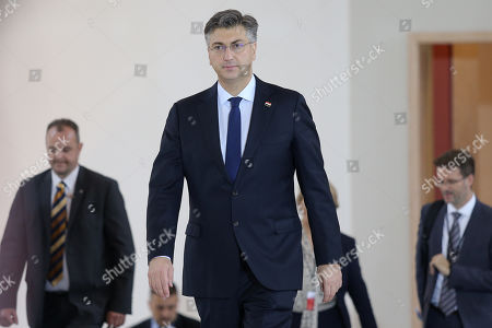Stock Photo of Prime minister of Croatia Andrej Plenkovic during the meeting of the Friends of Cohesion group in Prague, Czech Republic, 05 November 2019.