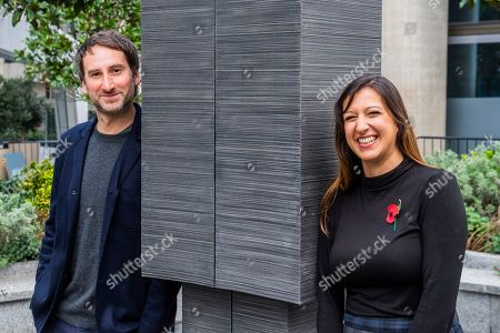 Artist Idris Khan and Cllr Rebecca Lury from Southwark Council with the 65,000 Photographs artwork