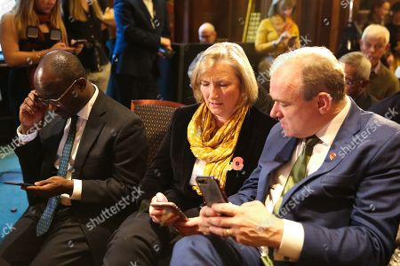 Liberal Democrat MPs Sam Gyimah (L), Sarah Wollaston (C) and Ed Davey (R) at the launch of Liberal Democrat general election campaign