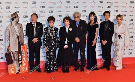 (L-R) Actor Gin Maeda, Ruriko Asaoka, Chieko Baisho, director Yoji Yamada, Kumiko Goto, Hidetaka Yoshioka and Mari Natsuki attend the opening ceremony