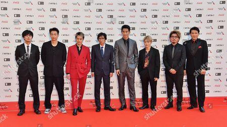 Stock Picture of Producer Tetsuya Bessho, director Isao Yukisada, Naoki Kobayashi, Daishi Matsunaga, Ryuji Imaichi, Hiroki Horanai, Reo Sano and Hiroki Inoue attend the opening ceremony