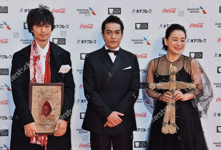(L-R) Actors Takumi Saito, Kazuki Kitamura and Misuzu Kanno attend the opening ceremony