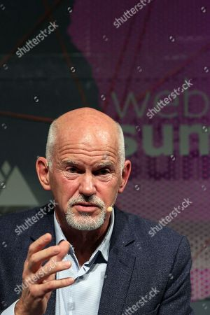 United Nations High Commissioner for Refugees (UNHCR) and former Greek Prime Minister George Papandreou speaks during the second day of the Web Summit in Lisbon, Portugal, 05 November 2019. More the 70,000 participants from 163 countries participate in the 2019 Web Summit, considered the largest event of startups and technological entrepreneur ship in the world, takes place from 04 to 07 November.