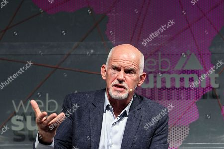 Stock Picture of United Nations High Commissioner for Refugees (UNHCR) and former Greek Prime Minister George Papandreou speaks during the second day of the Web Summit in Lisbon, Portugal, 05 November 2019. More the 70,000 participants from 163 countries participate in the 2019 Web Summit, considered the largest event of startups and technological entrepreneur ship in the world, takes place from 04 to 07 November.