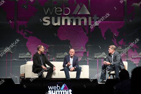 United Nations High Commissioner for Refugees (UNHCR) and former Greek Prime Minister George Papandreou (C) speaks during the second day of the Web Summit in Lisbon, Portugal, 05 November 2019. More the 70,000 participants from 163 countries participate in the 2019 Web Summit, considered the largest event of startups and technological entrepreneur ship in the world, takes place from 04 to 07 November.