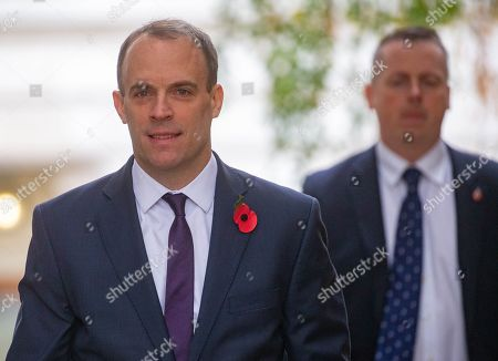 Stock Picture of Dominic Raab, Secretary of State for Foreign and Commonwealth Affairs, First Secretary of State, arrives for a Cabinet meeting. Parliament will go into recess at 12.01am tonight.