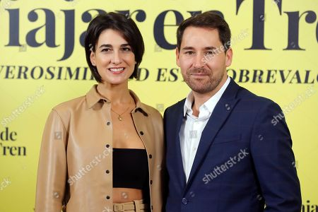 Spanish cast members of 'Ventajas de viajar en tren' (lit. Advantages of traveling by train), Stephanie Magnin (L) and Javier Godino (R), pose during the presentation of the comedy movie in Madrid, Spain, 05 November 2019. The film, directed by Spanish filmmaker Aritz Moreno, will be premiered in theaters in Spain 08 November 2019.