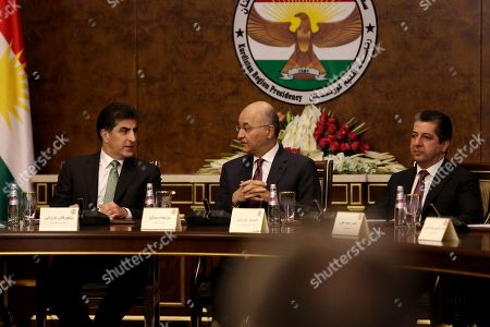 Stock Picture of Iraqi President Barham Salih (C) meets with President of the Kurdistan Region Nechirvan Barzani (L) and Prime Minister of the Kurdistan Region Masrour Barzani (R) with other Kurdish party leaders in Erbil, the capital of the Kurdistan region, Iraq, 05 November 2019. According to reports, the meeting discussed prospective amendments to Iraqi constitution amid ongoing demonstrations across many of the Iraqi central and southern cities.
