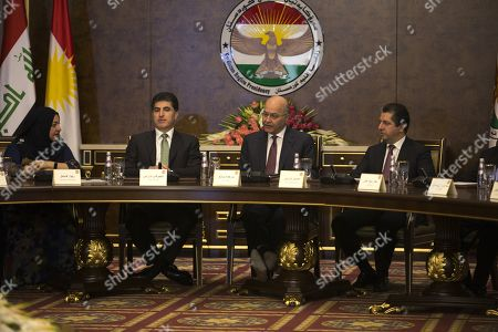 Iraqi President Barham Salih (C) meets with President of the Kurdistan Region Nechirvan Barzani (2-L) and Prime Minister of the Kurdistan Region Masrour Barzani (R) with other Kurdish party leaders in Erbil, the capital of the Kurdistan region, Iraq, 05 November 2019. According to reports, the meeting discussed prospective amendments to Iraqi constitution amid ongoing demonstrations across many of the Iraqi central and southern cities.