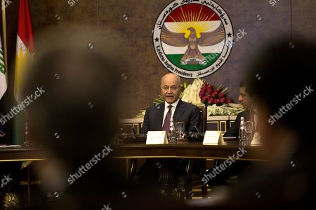 Iraqi President Barham Salih looks on during a meeting president of the Kurdistan Region and Kurdish party leaders in Erbil, the capital of the Kurdistan region, Iraq, 05 November 2019. According to reports, the meeting discussed prospective amendments to Iraqi constitution amid ongoing demonstrations across many of the Iraqi central and southern cities.