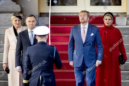 Stock Picture of King Willem-Alexander (2-R) of The Netherlands and Dutch Queen Maxima (R) give an official welcome for Polish President Andrzej Duda (2-L) and his wife Agata Kornhauser-Duda (L) at the Noordeinde Palais in The Hague, The Netherlands, 05 November 2019. The Polish president is on an official visit to The Netherlands.