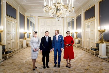 King Willem-Alexander (2-R) of The Netherlands and Dutch Queen Maxima (R) pose for the media with Polish President Andrzej Duda (2-L) and his wife Agata Kornhauser-Duda (L) at the Noordeinde Palais in The Hague, The Netherlands, 05 November 2019. The Polish president is on an official visit to The Netherlands.