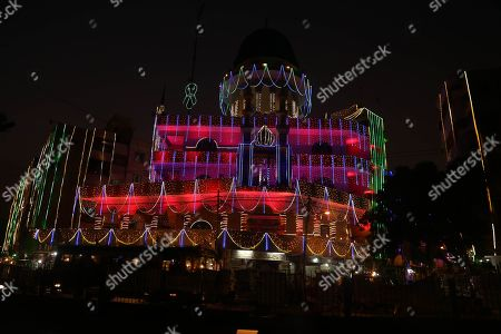 A view of illuminated Kinz ul Iman mosque ahead of Eid-Milad-ul-Nabi, the birthday of Prophet Mohammad, in Karachi, Pakistan, 05 November 2019.  Eid-Milad-ul-Nabi is celebrated by Muslims all over the world every year on 12th of the Rabi-ul-Awal, the third month of the Islamic Calendar.