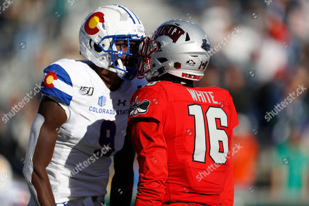 R m. Colorado State wide receiver Warren Jackson (9) argues with UNLV linebacker Javin White (16) in the second half of an NCAA college football game, in Fort Collins, Colo. Colorado State won 37-17