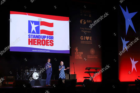Bob Woodruff, Lee Woodruff. Bob Woodruff, left, and Lee Woodruff speak at the 13th annual Stand Up For Heroes benefit concert in support of the Bob Woodruff Foundation at the Hulu Theater at Madison Square Garden, in New York