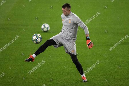 Galatasaray goalkeeper Fernando Muslera attends a training session in Madrid, Spain, . Real Madrid will play against Galatasaray in a Champions League soccer match Group A on Wednesday