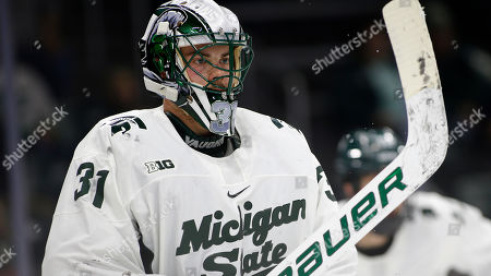 Michigan State's John Lethemon is shown during an NCAA hockey game on in East Lansing, Mich