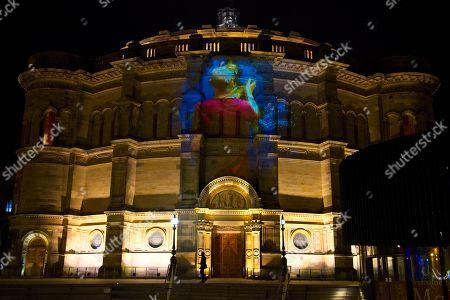 Swan Lake visual projected on the University of Edinburgh's McEwan Hall