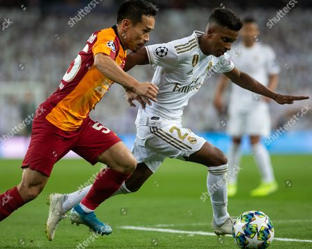 Rodrygo Goes of Real Madrid and Galatasaray's Yuto Nagatomo during the UEFA Champions League match between Real Madrid and Galatasaray AS played at the Santiago Bernabeu Stadium in Madrid, on November 6th 2019