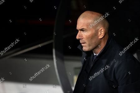 Real Madrid coach Zinedine Zidane  during the UEFA Champions League match between Real Madrid and Galatasaray AS played at the Santiago Bernabeu Stadium in Madrid, on November 6th 2019