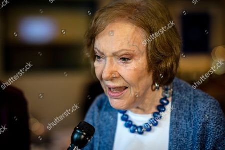 Former First lady Rosalynn Carter brings focus to caregiving. The former first lady Rosalynn Carter speaks to the press at conference at The Carter Center, in Atlanta. Carter enjoyed a light lunch in the audience as a panel discussion led by Judy Woodruff, anchor of PBS NewsHour, took center stage. The former First Lady made remarks about her upbringing as a caregiver and the health of her husband, former President Jimmy Carter