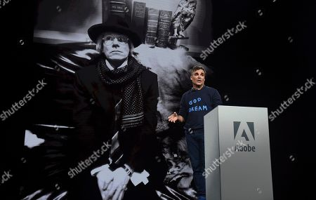 Photographer, David LaChapelle, shows off the last photo he took of famed artist, Andy Warhol, at Adobe MAX, in Los Angeles