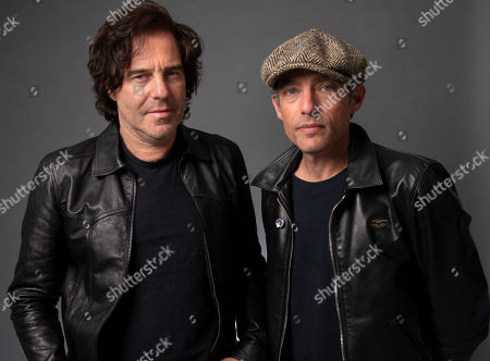"""Jakob Dylan, right, and Andrew Slater pose for a portrait in promotion of their film """"Echo In the Canyon"""", in New York"""