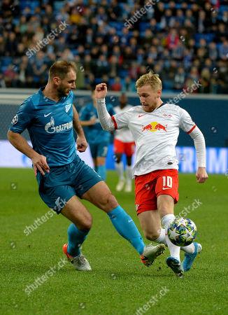 Zenit players Branislav Ivanovich and RB Leipzig FC Emil Forsberg