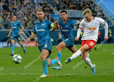 FC Zenit players Branislav Ivanovich, Jordan Osorio and FC RB Leipzig Emil Forsberg