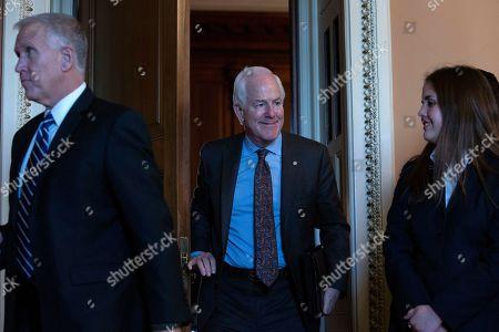 United States Senator John Cornyn (Republican of Texas) departs Republican Senate luncheons on Capitol Hill