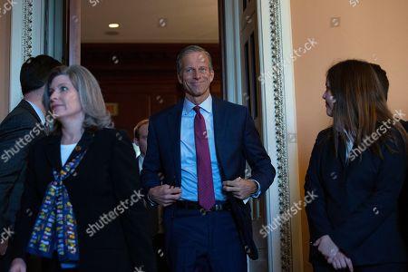 United States Senator John Thune (Republican of South Dakota) departs Republican Senate luncheons on Capitol Hill