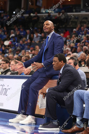 Memphis Coach Penny Hardaway in the second half of an NCAA college basketball game, in Memphis, Tenn