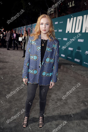 Molly C. Quinn attends the Lionsgate's MIDWAY World Premiere at the Regency Village Theatre in Los Angeles, CA on November 5, 2019.