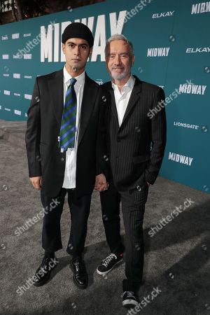 Omar De Soto and Roland Emmerich, Director/Producer, attend the Lionsgate's MIDWAY World Premiere at the Regency Village Theatre in Los Angeles, CA on November 5, 2019.