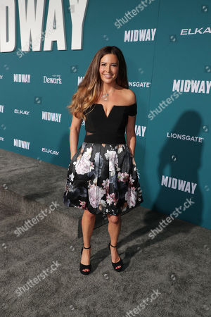 Stock Photo of Ashley Cusato attends the Lionsgate's MIDWAY World Premiere at the Regency Village Theatre in Los Angeles, CA on November 5, 2019.
