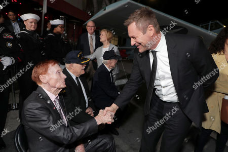 Jack Holder, Truxton ÒT.K.Ó Ford, Hank Kudzik and Aaron Eckhart attend the Lionsgate's MIDWAY World Premiere at the Regency Village Theatre in Los Angeles, CA on November 5, 2019.