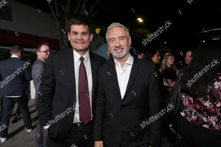 Jason Constantine, President of Acquisitions and Co-Productions, Lionsgate Motion Picture Group, and Roland Emmerich, Director/Producer, attend the Lionsgate's MIDWAY World Premiere at the Regency Village Theatre in Los Angeles, CA on November 5, 2019.