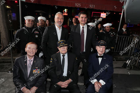 Jack Holder, Roland Emmerich, Director/Producer, Truxton ÒT.K.Ó Ford, Jason Constantine, President of Acquisitions and Co-Productions, Lionsgate Motion Picture Group, and Hank Kudzik attend the Lionsgate's MIDWAY World Premiere at the Regency Village Theatre in Los Angeles, CA on November 5, 2019.
