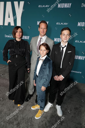 Dagmara Dominczyk, Patrick Wilson, Kassian McCarrell Wilson and Kalin Patrick Wilson attend the Lionsgate's MIDWAY World Premiere at the Regency Village Theatre in Los Angeles, CA on November 5, 2019.