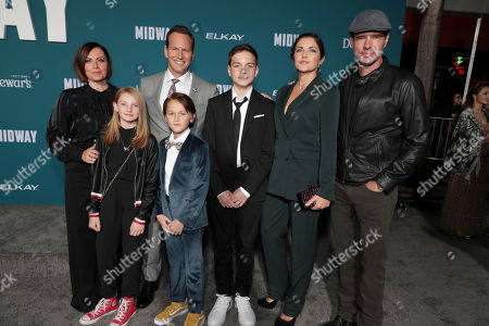Dagmara Dominczyk, Malina Jean Foley, Patrick Wilson, Kassian McCarrell Wilson, Kalin Patrick Wilson, Marika Dominczyk and Scott Foley attend the Lionsgate's MIDWAY World Premiere at the Regency Village Theatre in Los Angeles, CA on November 5, 2019.