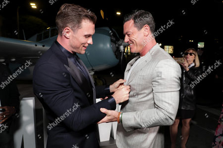 Ed Skrein and Luke Evans attend the Lionsgate's MIDWAY World Premiere at the Regency Village Theatre in Los Angeles, CA on November 5, 2019.
